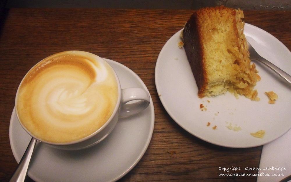 flat white and cake
