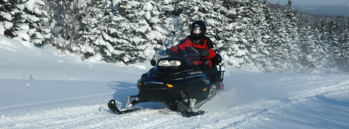 On a Snowmobile in Newfoundland