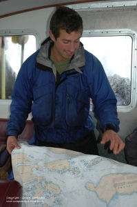 Discussing our route on the water taxi