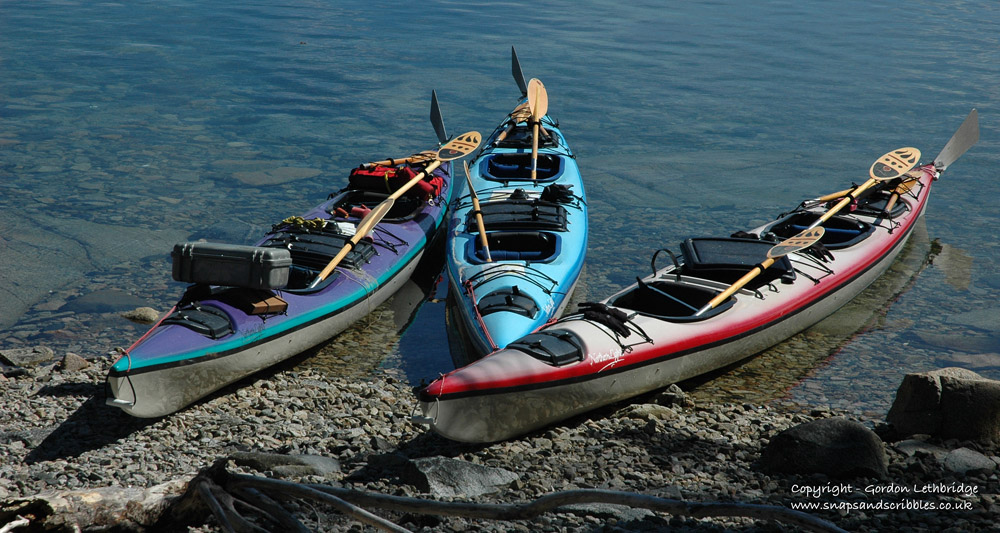 Kayaks at Shaker Camp waiting to be stowed above the high tide mark