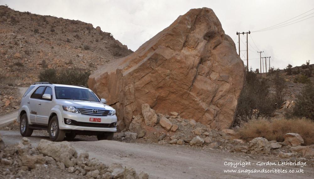 The dirt track up Jabal Sham