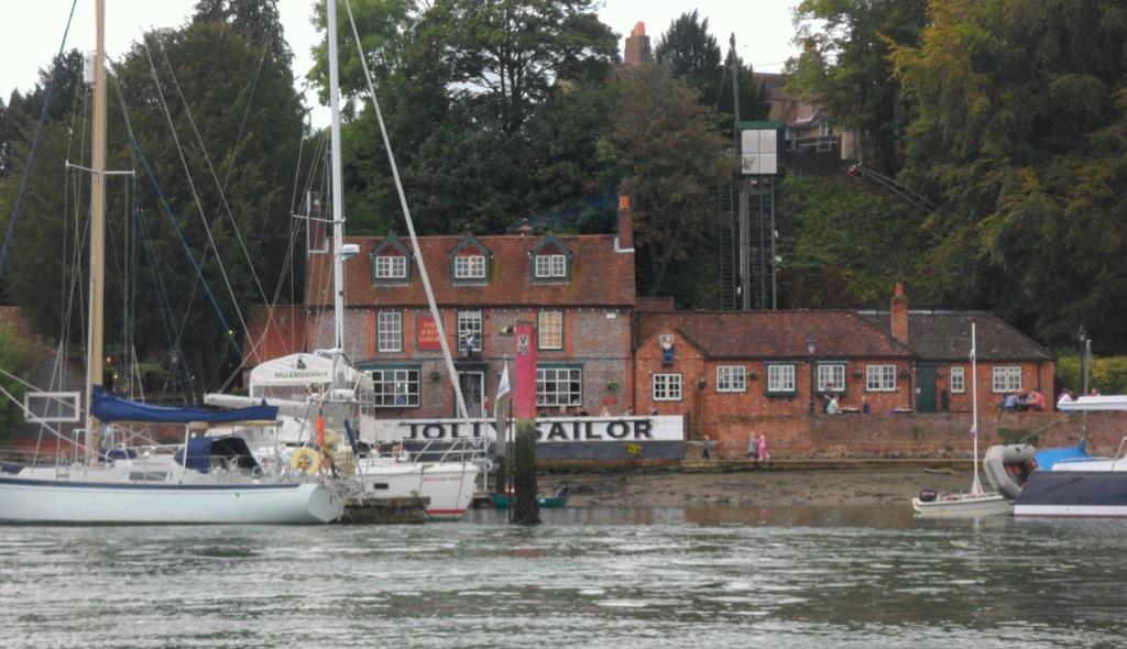 """The Jolly Sailor opposite the """"hard"""" where our journey begins © Gordon Lethbridge 2014"""