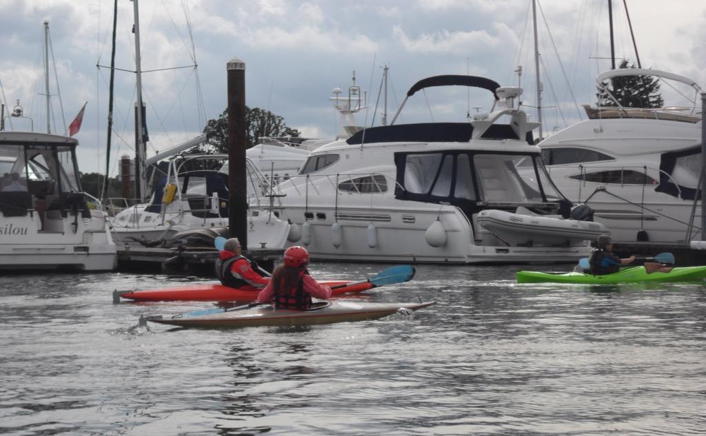 Paddling among some very expensive boats © Gordon Lethbridge 2014