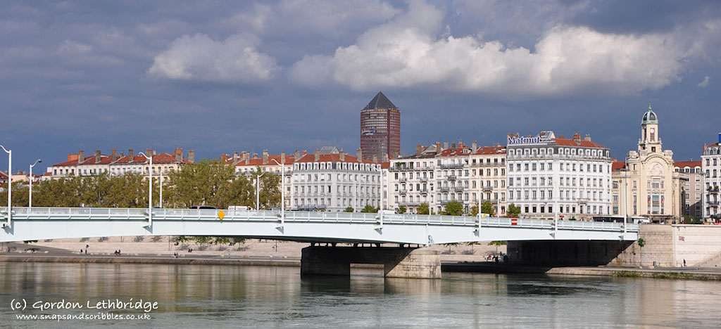 """Lyon beyond the Rhone with """"The Pencil"""" dominating the skyline"""