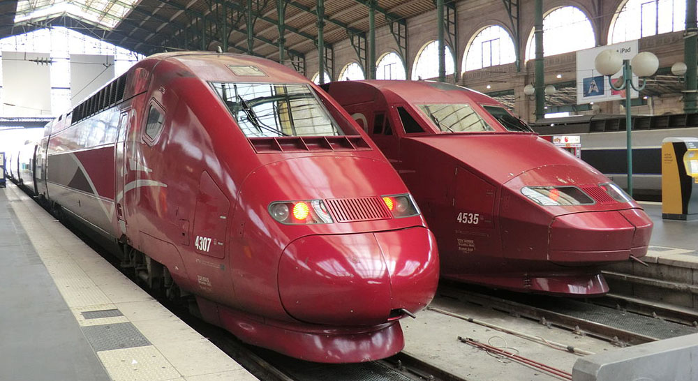 Thalys trains, part of Europe's network of high speed railway network © Ale Sasso - Licensed under CC BY-SA 3.0 via Wikimedia Commons - http://commons.wikimedia.org/wiki/File:Thalys_trains.JPG#mediaviewer/File:Thalys_trains.JPG