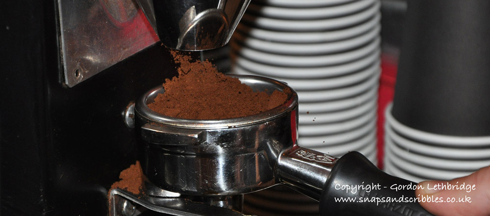 Ground coffee straight from the grinder