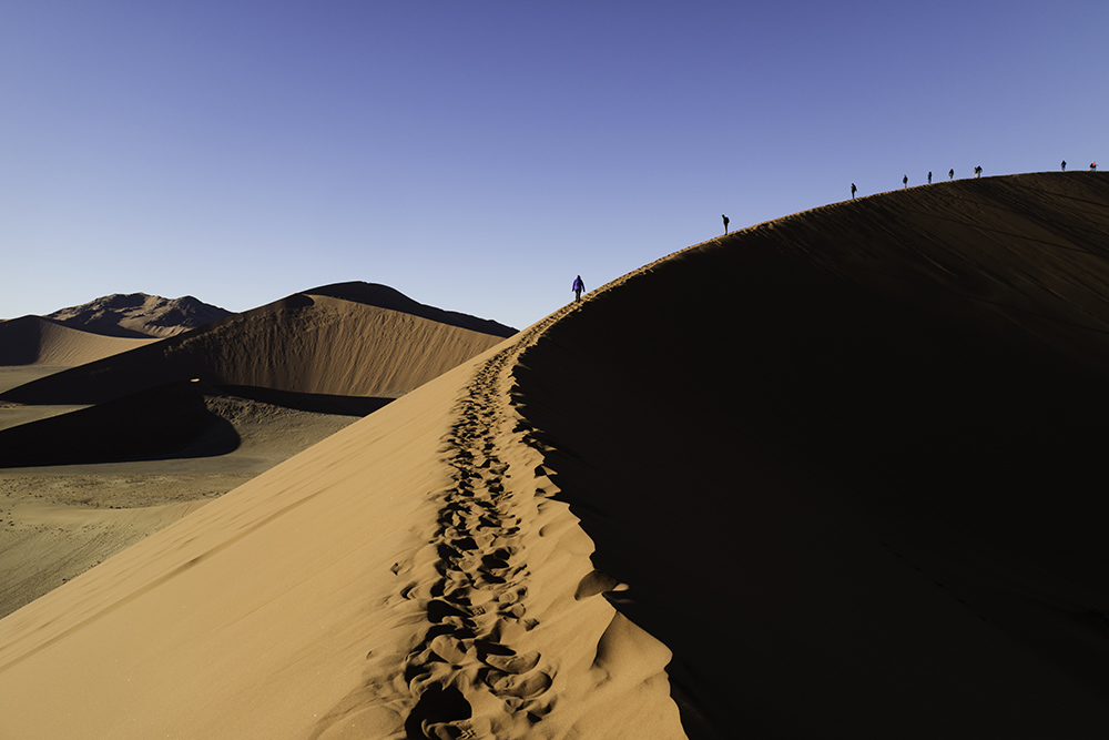 Climbing sand dunes in the Namib Desert
